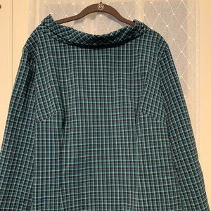 Laura Byrnes Joanie Top Teal Check